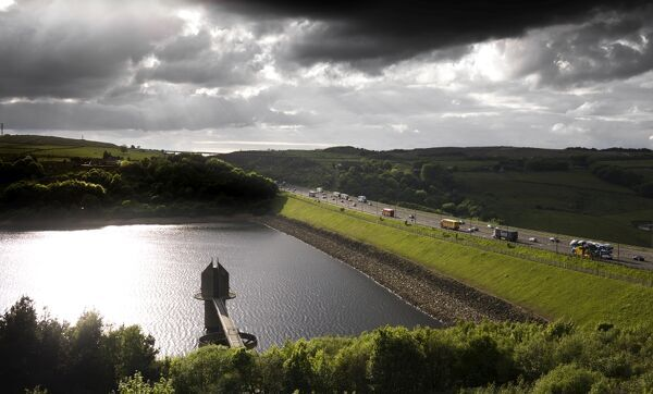 Scammonden Resevoir, West Yorkshire. General view showing the resevoir and its dam carrying the M62