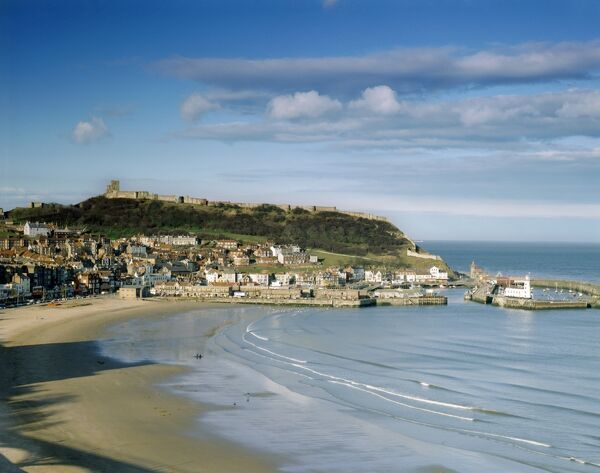 SCARBOROUGH CASTLE, North Yorkshire. View of the castle across the bay