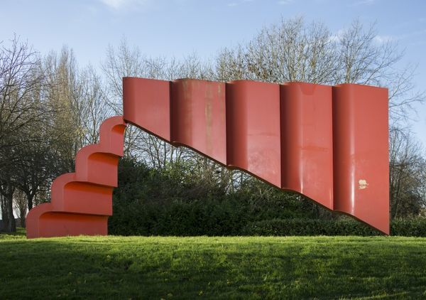 Challenge House, Sherwood Drive, Bletchley, Milton Keynes. The Art of Silence sculpture by Bernard Schottlander. View from north. Photographed by Patricia Payne, 2015