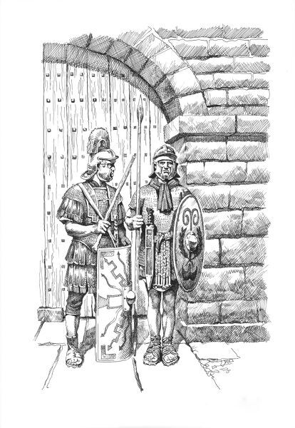 Hadrian's Wall. Reconstruction line drawing of two Roman soldiers in front of a typical gateway on Hadrians Wall. Baed on Grindon Milecastle. Philip Corke. c.1985 - c.2000