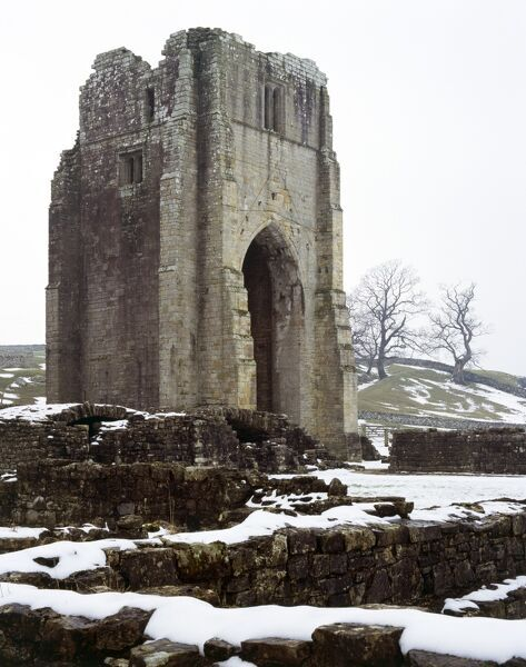 SHAP ABBEY, Cumbria. View of the west tower in the snow