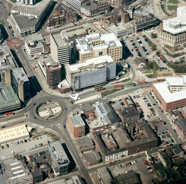 Arundel Street area, Sheffield, South Yorkshire. Some important cutlery works still survive in Arundel Street, despite the urban renewal around them. Butcher's Wheel and Sellers Wheel can be seen in the lower right hand quadrant of this aerial photograph