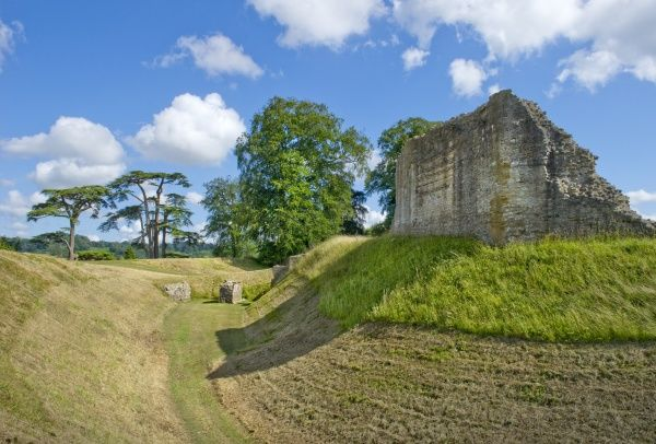 SHERBORNE OLD CASTLE, Dorset. View along the moat towards the North East Gatehouse