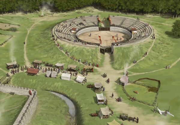 SILCHESTER ROMAN CITY WALLS, Hampshire. Reconstruction drawing by Peter Urmston showing spectators arriving at the amphitheatre for a gladiatorial contest c.250 AD, seen from the south