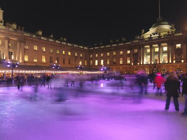 SOMERSET HOUSE, Strand, London. View of the ice rink at night
