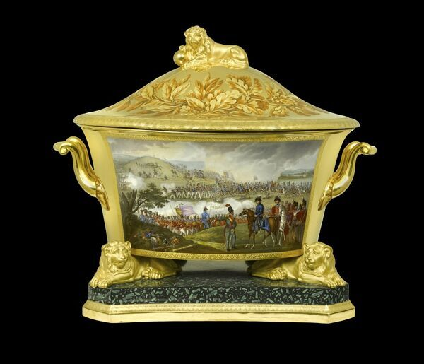 APSLEY HOUSE, London. Prussian Service. Berlin Porcelain Factory. Soup tureen depicting the Battle of Orthes, 1814, during the Peninsular War. Part of a gift from the King of Prussia. Aquatint painted by T. Sutherland. WM 916-1948