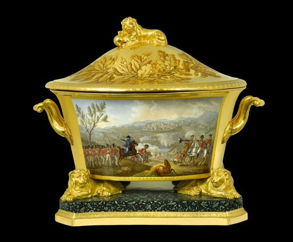 APSLEY HOUSE, London. Soup tureen from the Duke of Wellington's Prussian Service, made in Berlin 1817-19. This was a gift to the Duke from the King of Prussia, and depict the battles he won during his military career. Here shown is the Battle of Vimiero