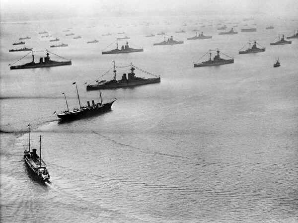 REVIEW OF THE FLEET, Spithead, Portsmouth. The Spithead Review in July 1924, at which George V presented colours to the Royal Navy. The Royal Yacht (HMY Victoria and Albert) is leading the review party, with the King and Prince of Wales aboard