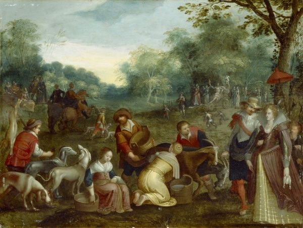 "BRODSWORTH HALL, South Yorkshire. "" Spring "" by circle of Louis De Caullery (active 1590-1620). Season"