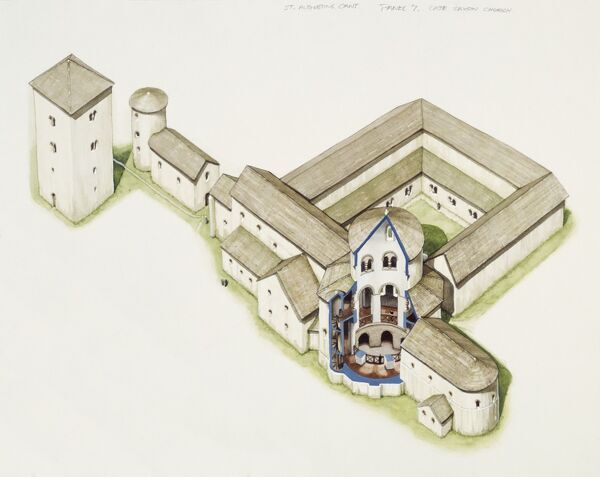 ST AUGUSTINE'S ABBEY, Canterbury, Kent. Reconstruction drawing of the late saxon church. Watercolour by Peter URMSTON. The churches now joined by a rotunda