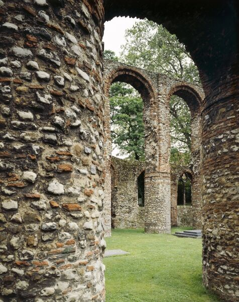 ST BOTOLPH'S PRIORY, Colchester, Essex. Exterior view of the first Augustinian priory in England, founded c.1100