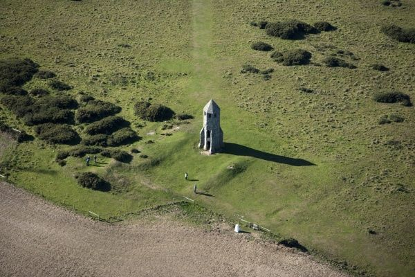 ST CATHERINE'S ORATORY, Isle of Wight. Aerial view showing earthworks