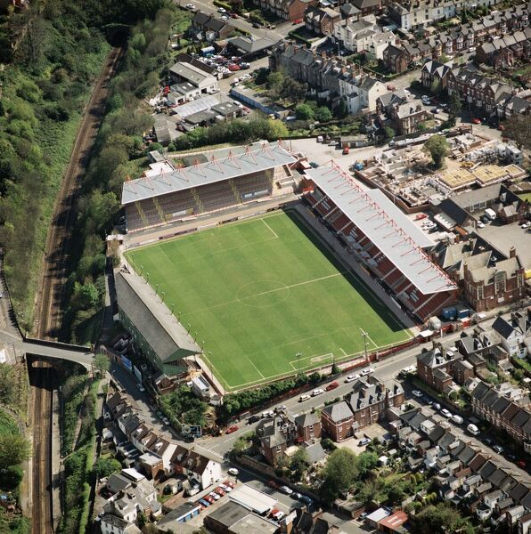 ST JAMES PARK, Exeter. Home of Exeter City Football Club. Photographed in April 2001. Aerofilms Collection (see Links)