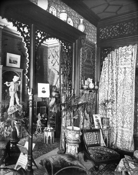 ST MARGARETS MANSIONS, Victoria Street, Westminster, Greater London. Interior view in the boudoir (architect Collinson & Lock). Photographed by Bedford Lemere in November or December 1888