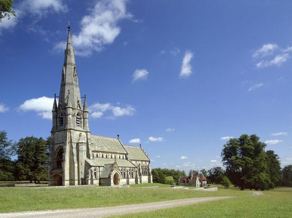 ST MARY'S CHURCH, Studley Royal, North Yorkshire. Exterior view of the Gothic Revival church from the south west
