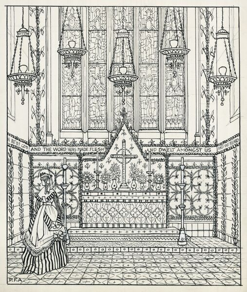ST MATTHIAS CHURCH, Wordsworth Road, Stoke Newington, Hackney, London. Pen and ink sketch impression of Christmas decorations and temporary reredos around 1870, with lady in period costume. 1930s sketch by Peter Anson