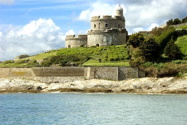 ST MAWES CASTLE, Cornwall. View from the sea looking towards the castle