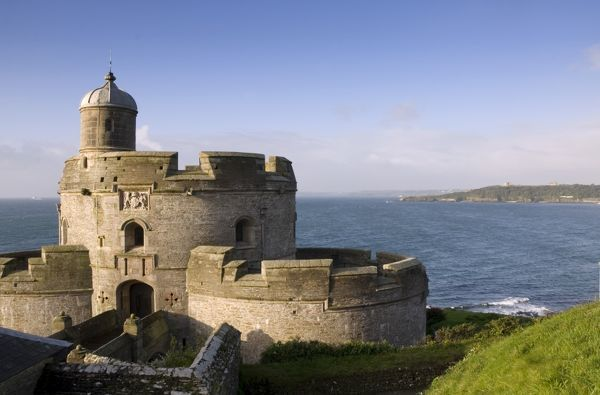 ST MAWES CASTLE, Cornwall. View of the castle with sea and headland beyond