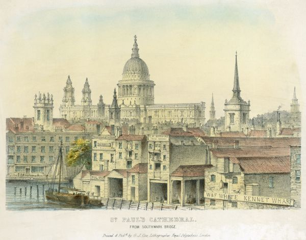 ST PAUL'S CATHEDRAL, St Paul's Churchyard, City of London. View from Southwark Bridge 1825. Coloured Lithograph. Engraving from the Mayson Beeton Collection