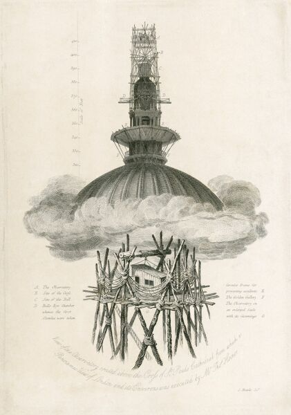 ST PAUL'S CATHEDRAL, St Paul's Churchyard, City of London. Samuel Rawle's Observatory 1821. Showing the observation platform above the pinnacle of St Paul's to allow the creation of a series of topographic engravings of London