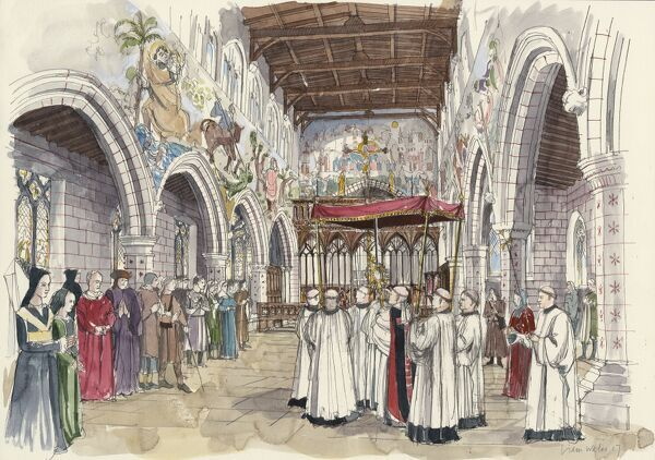 ST PETER'S CHURCH, Barton-upon-Humber, Lincolnshire. Reconstruction drawing by Liam Wales of the interior of the church in the 15th century. Ceremonial procession