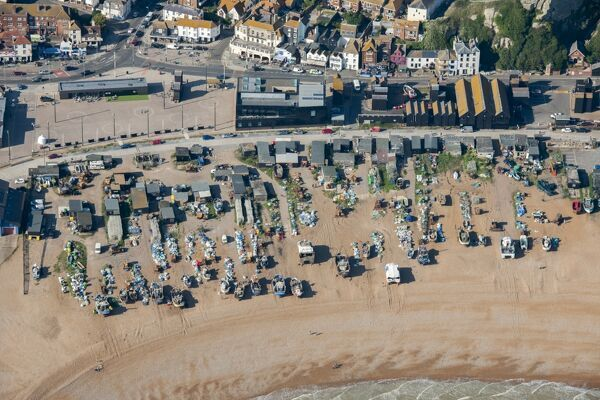 Hastings, East Sussex. The Stade, a shingle beach that has been used for beaching fishing boats for centuries. Photographed in September 2015