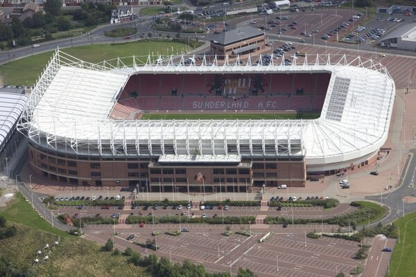 STADIUM OF LIGHT, Sunderland. Aerial view. Home of Sunderland Football Club since 1997. The new ground for the Black Cats was built on the site of the old Wearmouth Colliery. The North Stand was subsequently extended with the addition of an upper tier in 2000