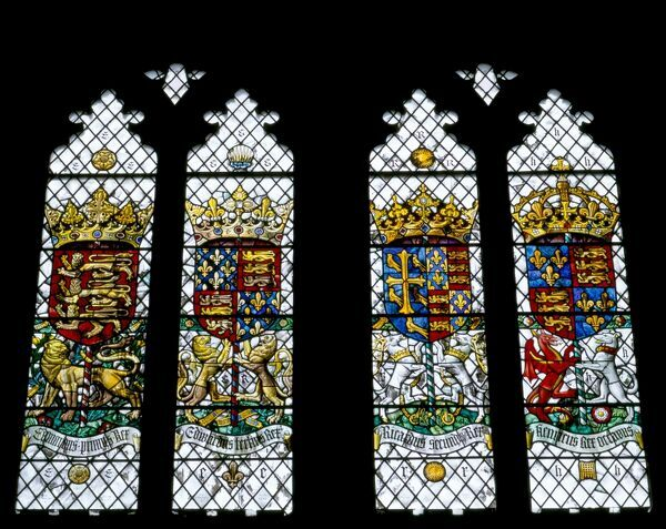 ELTHAM PALACE, London. Detail of stained glass in the Great Hall interior. Coats of arms of Edward I & III, Richard II and Henry VIII