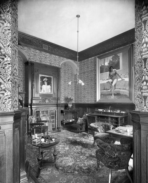 STANMORE HALL, Stanmore Hill, Great Stanmore, Harrow. Interior of the Business Room. View towards the fireplace. Photographed by Bedford Lemere in November 1891