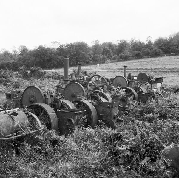 Great Massingham, Norfolk. A group of derelict steam engines. Photographed by Hallam Ashley