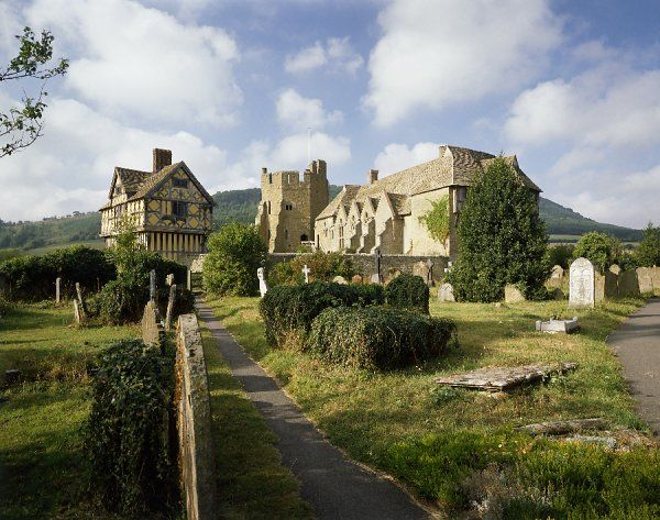 STOKESAY CASTLE, Shropshire. View of the fortified manor house from the churchyard