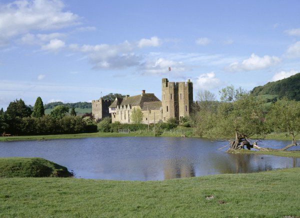 STOKESAY CASTLE, Shropshire. View from the South West looking across the pond