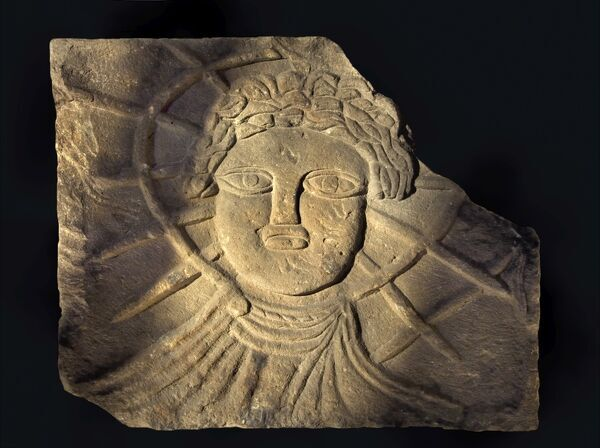 CORBRIDGE ROMAN TOWN, Northumberland. Museum objects: stone relief of Sol from Temple of Jupiter Dolichenus. hadrian