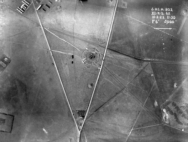 STONEHENGE, Wiltshire. Aerial view from 3000ft. Photographed 10th February 1922. From collection by O G S Crawford. Some damage on original negative