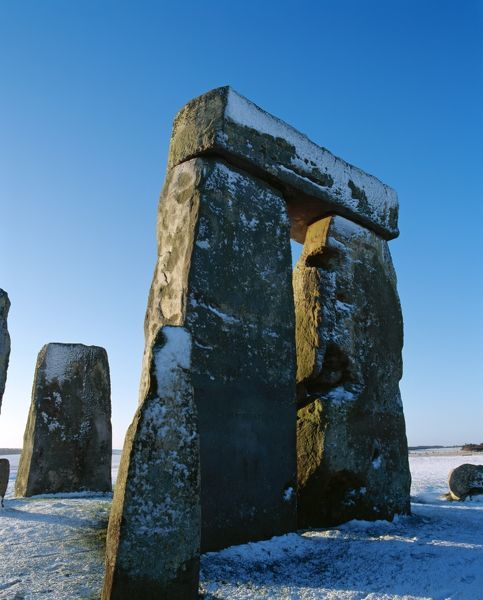 STONEHENGE, Wiltshire.View of trilithon in the snow