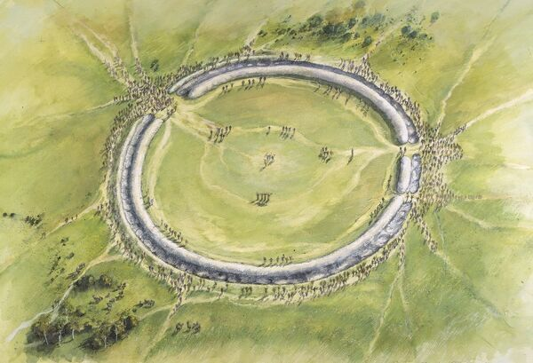 STONEHENGE, Wiltshire. Aerial view reconstruction drawing of Phase I by Peter Dunn, English Heritage Graphics Team