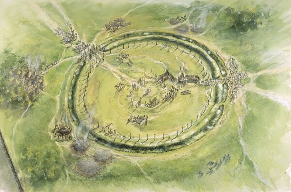 STONEHENGE, Wiltshire. Aerial view reconstruction drawing of Phase 2 by Peter Dunn, English Heritage Graphics Team