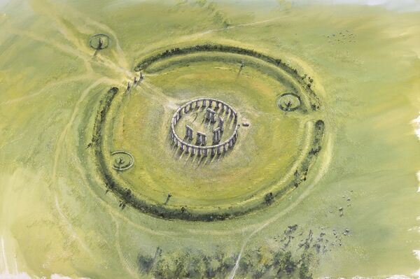 STONEHENGE, Wiltshire. Aerial view reconstruction drawing of Phase 3II and 3b by Peter Dunn, English Heritage Graphics Team