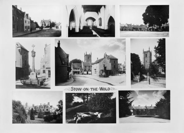 STOW-ON-THE-WOLD, Gloucestershire. A composite of nine views of the town with the market place and medieval cross at the centre. All images were photographed by Henry Taunt, and this taster was produced by him in 1890. Stow on the Wold