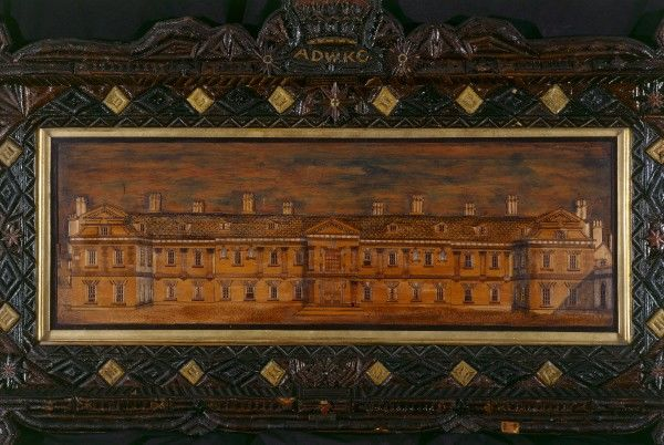 WALMER CASTLE, Kent. Marquetry picture of Stratfield Saye, the Duke of Wellington's country home in Berkshire
