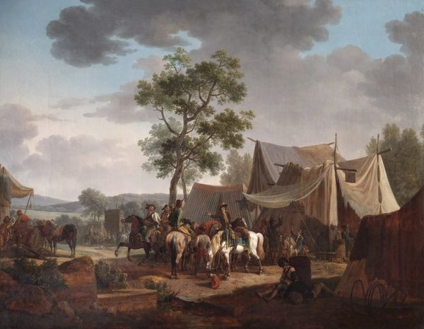 "APSLEY HOUSE, London. ""An Encampment"" 1796 by Jacques Francois Joseph SWEBACH (1769-1823). The French army on campaign. WM 1643-1948. Provisionally Spanish Royal Collection, captured at Vitoria 1813"