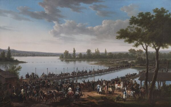 "APSLEY HOUSE, London. ""The Passage of the Danube by Napoleon before the Battle of Wagram"" 1810 by Jacques Francois Joseph SWEBACH-DESFONTAINES (1769-1823). WM 1560-1948"