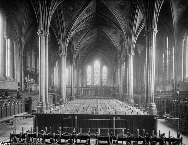 TEMPLE CHURCH, Temple, City of London. Interior view looking east down the nave, showing the beautiful vaulted ceiling and stained glass windows. Photographed by Henry Taunt between 1860 - 1922