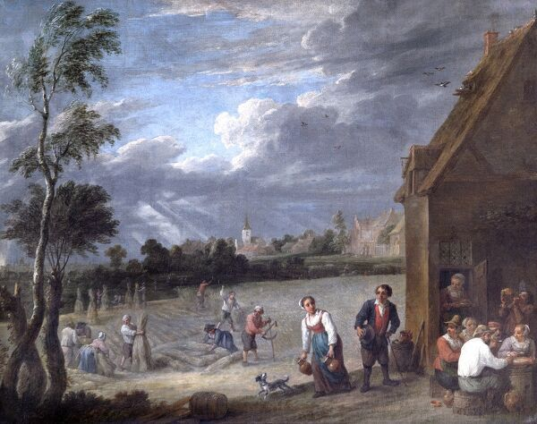 "APSLEY HOUSE, London. ""A Harvest scene"" by David TENIERS the younger (1610-90). Spanish Royal Collection. Captured at Vitoria 1813. WM 1602-1948"