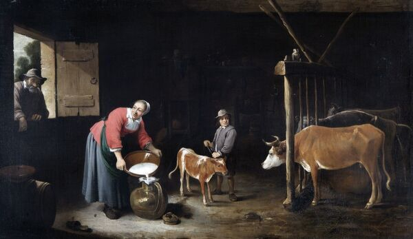 APSLEY HOUSE, London. ' Interior of a Cowshed ' by David TENIERS the younger (1610-90). WM 1595-1948