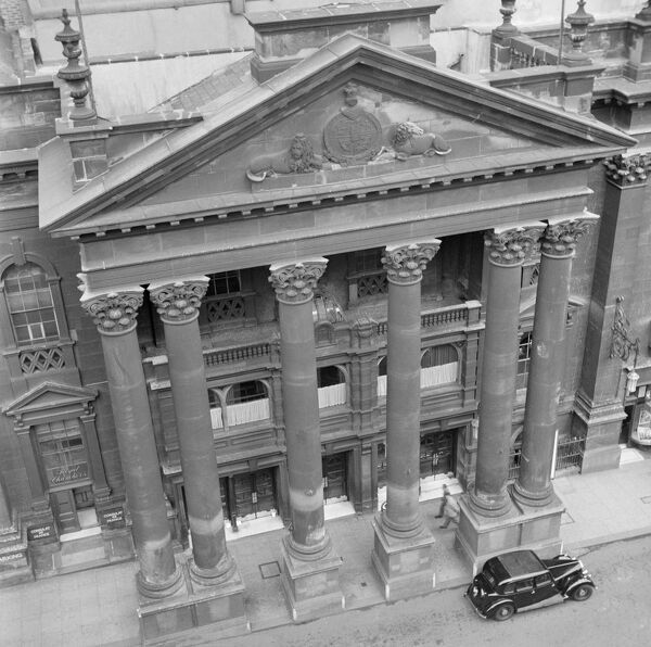 THEATRE ROYAL, Grey Street, Newcastle upon Tyne. The portico of the Royal Theatre viewed from a high vantage point. The theatre was opened in 1837. Photographed by Eric de Mare between 1945 and 1955