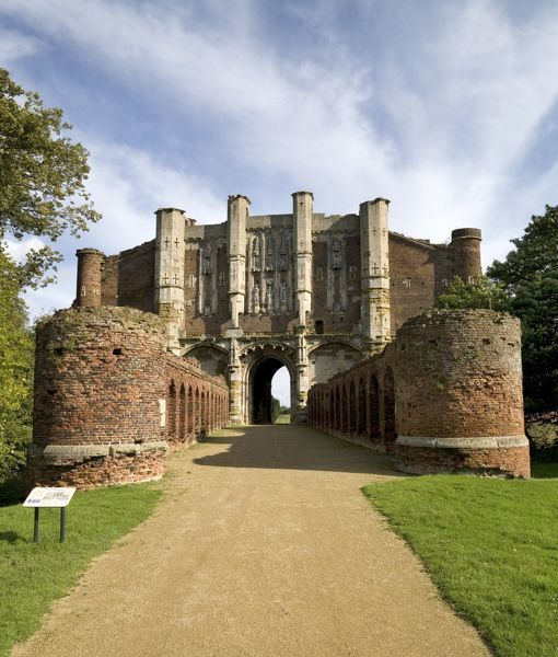 THORNTON ABBEY, North Lincolnshire. View of the Barbican and Gatehouse from the west