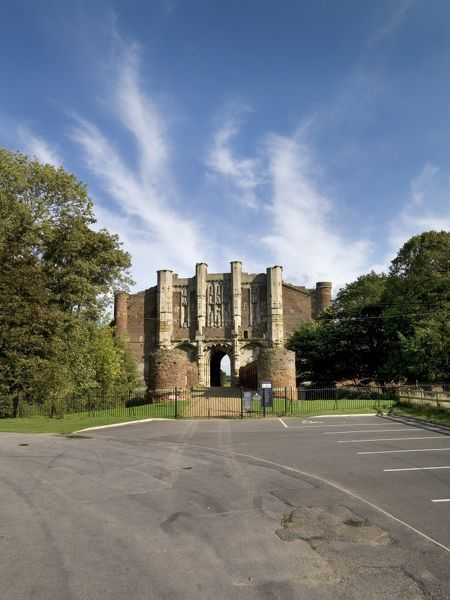 THORNTON ABBEY, North Lincolnshire. View of the car park, Barbican and Gatehouse from the west