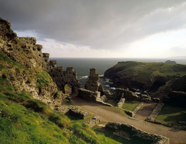 TINTAGEL CASTLE, Cornwall. Inner ward and site of the Great Hall