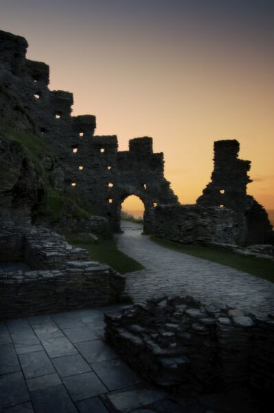 TINTAGEL CASTLE, Cornwall. The Island Courtyard at dusk